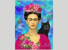 FRIDA KAHLO and Black CAT Original Digital Collage Sheet. Mexican Art. Large image. Personal & Commercial Use Mexico, gift tags 077