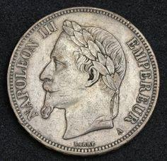 French silver coins 5 Francs Silver coin, Emperor Napoleon III