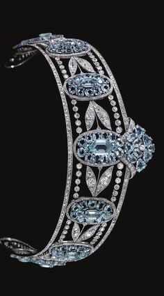 Edwardian Era Belle Epoque Aquamarine and Diamond Tiara, circa 1910 Royal Crowns, Royal Tiaras, Tiaras And Crowns, Diamond Tiara, Diamond Cuts, Royal Jewelry, Fine Jewelry, Jewellery, Antique Jewelry