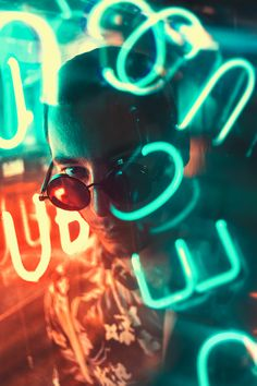 Neon photography portrait