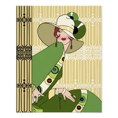 Shelby, 1920s Art Deco Lady in Yellow and Olive Print from Zazzle.com