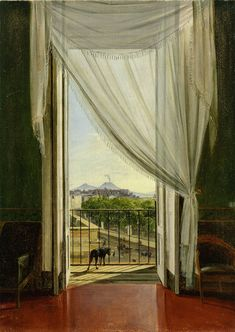 """Franz Ludwig Catel - """"A View of Naples through a Window"""", 1824 - The Cleveland Museum of art - Window View, Open Window, Villas, Door Entryway, Cleveland Museum Of Art, Through The Window, Neoclassical, Studio, Metropolitan Museum"""