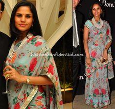 Pratima Bhatia in floral chiffon and pearld