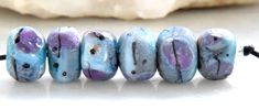 6 Crusty Ancient Mediterranean Rocks  , Rustic Lampwork Beads , turquoise pink purple glass beads by Beadfairy Lampwork, SRA by Beadfairy on Etsy https://www.etsy.com/listing/269945835/6-crusty-ancient-mediterranean-rocks