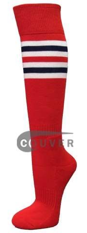 Red with White Navy Red Striped Knee Softball Sock 3PAIRs [SSS07-CDL] - $17.40 : COUVER SWEATBANDS & SOCKS
