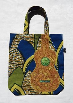 Ukulele tote bag in Dutch wax print batik fabric with 60s applique uke by Ivy Arch