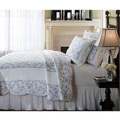 Blue Woven Cotton 3-piece Quilt Set Floral Country Cottage Victorian Comforter