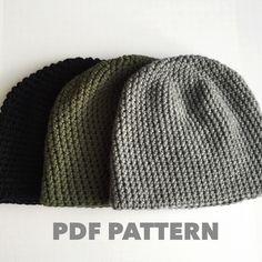 Pattern Mens Easy Hat Crochet Beanie Seamless Simple Basic Classic Crochet Hat