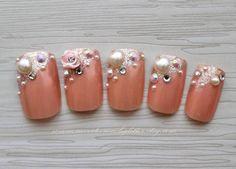 Rose Path. Kawaii Fake Nails, Japanese 3D Nail Art, Princess, Gyaru, Glitter, Roses, 3D Fake Nail, Cosplay, Press On Nails, False Nails Set