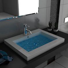 Modern Badezimmer Hochglanz Waschbecken Handwaschbecken aus Mineralguss 60 cm Breit Gäste WC: Amazon.de: Baumarkt