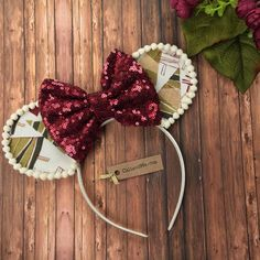 Christmas Ears, Christmas Mouse Ears, Burgundy and Olive Christmas Mouse Ears Headband, Christmas Disney Ears, Disney Christmas by CaliandMeBoutique on Etsy https://www.etsy.com/listing/566558235/christmas-ears-christmas-mouse-ears