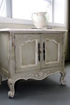 SOLD Vintage Painted French Country Nightstand/ End Table. $175.00, via Etsy.