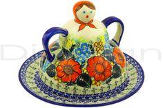 Polish Pottery 10-inch Cheese Lady   Boleslawiec Stoneware   Polmedia H9276F