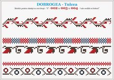 Semne Cusute: modele pentru camasi - DOBROGEA - Tulcea Folk Embroidery, Embroidery Stitches, Embroidery Patterns, Knitting Patterns, Cross Stitch Geometric, Cross Stitch Borders, Cross Stitch Patterns, Textile Design, Beading Patterns