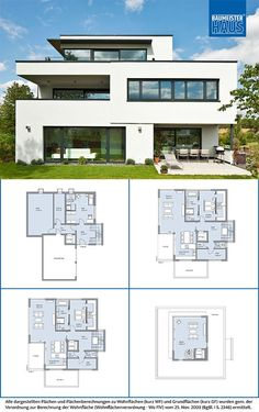Modern House Plans : Architectural Designs Modern House Plan gives you 5 beds 5 baths and Modern House Floor Plans, Sims House Plans, House Layout Plans, New House Plans, Dream House Plans, Luxury Floor Plans, Bungalow House Design, House Front Design, Small House Design