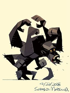 Asura Ape.  Posted a picture to the patreon.  Full size JPG and PSD can be downloaded according to the amount of support.  https://www.patreon.com/satoshi_matsuura