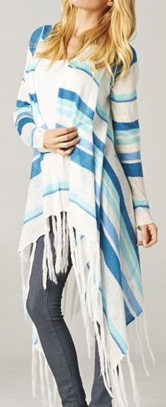 Long Collin Cardigan in Gradient Blues