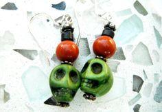 Skull Earrings Green Red Bead Earrings Black Silver by mscenna