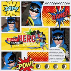 Batman - Layout of the Day by lnewhouse (Digital Scrapbooking Standout for Sept 28, 2015) created with the Superheroes Collection by Meagans Creations