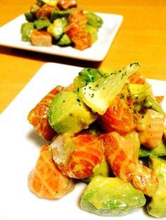 簡単に一品*アボカドとサーモンのサラダ Miso Soup, Sashimi, Japanese Food, Deli, Love Food, Potato Salad, Seafood, Side Dishes, Food And Drink