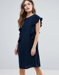 Buy it now. B.Young Shift Dress With Ruffle Side - Black. Dress by b.Young, Lightweight fabric, Crew neck, Ruffle details, Relaxed fit, Machine wash, 100% Polyester, Our model wears a UK 8/EU 36/US 4 and is 173cm/5'8 tall. , vestidoinformal, casual, camiseta, playeros, informales, túnica, estilocamiseta, camisola, vestidodealgodón, vestidosdealgodón, verano, informal, playa, playero, capa, capas, vestidobabydoll, camisole, túnica, shift, pleat, pleated, drape, t-shape, daisy, foldedshould...