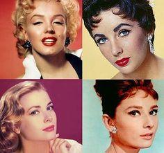 Marilyn Monroe, Elizabeth Taylor, Grace Kelly and Audrey Hepburn (style icons)