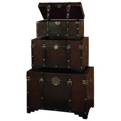 """Woodland Imports 3 Piece Faux Leather Trunk Set. Weights & Dimensions Large Overall: Large: 20"""" H x 28"""" W Medium Overall: Medium: 14"""" H x 24"""" W x 13"""" D Small Overall: Small: 10"""" H x 20"""" W x 10"""" D Overall Product Weight: 54.4 lbs"""