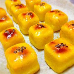 Bite-sized Sweet Potato Cake:Make sweet potato cakes into cute cube shapes. Provided by OYSHEE - easy recipes - Sweets Recipes, Baking Recipes, Easy Recipes, Cute Food, Yummy Food, My Favorite Food, Favorite Recipes, Asian Desserts, Mini Foods