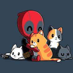 Deadpools Soft Side T-Shirt Marvel TeeTurtle - marvel avengers Cute Deadpool, Deadpool Chibi, Deadpool Fan Art, Deadpool X Spiderman, Deadpool Kawaii, Deadpool Quotes, Deadpool Tattoo, Deadpool Movie, Deadpool Wallpaper