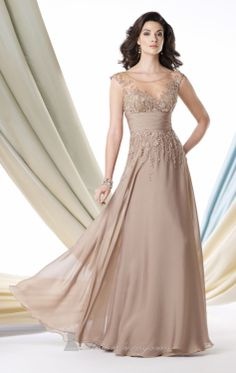 Prom Dress Champagne Elegant Appliques Chiffon Floor-Length A-Line  Cap Sleeve Charming Scalloped Prom Dress