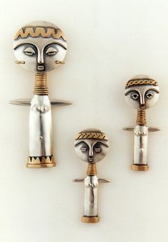 "Pendants | Ahlene Welsh, ""Africa series; Fertility Dolls"". Sterling silver and 14k gold"