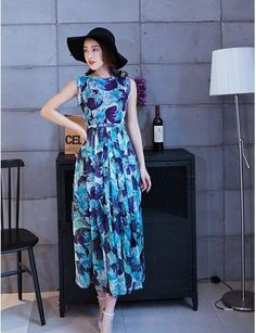 Beach Skirt Dresses In Bohemia Seaside Maxi Dress Printed Chiffon Dress Blue JY15041512.http://www.clothing-dropship.com
