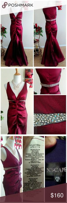 Gorgeous Burgandy Wine Gown NWOT This brand new mermaid gown with a slight kick pleat in back comes from an overstock & is new without tags. No flaws & stunning, even on my mannequin. Dress fits 1-2 sizes smaller like these form fitting dresses often do from Xscape. However its very stretchy, please remember this when looking at measurements because it can fit a wide range with its wiggle dress style.   17 p2p 30W 38Hip (not stretched) 63L Xscape Dresses Prom