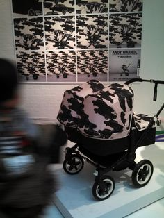 "Andy Warhol x Bugaboo team up for a stroller accessory collaboration. Showing the ""cars"" print."