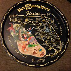 Vintage WALT DISNEY WORLD Florida souvenir tray by BaudelaireAntiques