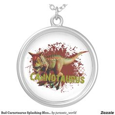 Bad Carnotaurus Splashing Blood Green and Red Round Pendant Necklace
