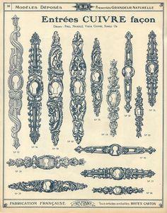 Antique door hardware, keyhole, catalogue qucaillmeubles p38