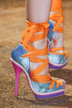Multi coloured ribbon strap high heels by Dior Hot Shoes, Crazy Shoes, Me Too Shoes, Christian Dior, Zapatos Shoes, Shoes Heels, Pink Heels, Louboutin, Pumps