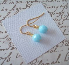 Light Turquoise Czech Glass Earrings by Merelani Designs