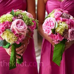 Pink and Green Bouquets: This is definitely my favorite bridesmaids bouquet!! Is this in the realm of what you were thinking Heather?