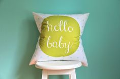 hello baby citron aqua pillow cover by iviebaby on Etsy, $35.00