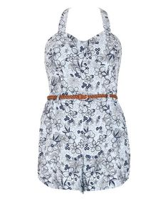 Another great find on #zulily! Blue & Gray Floral Belted Romper #zulilyfinds