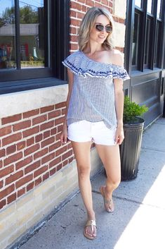 Summer outfit, H&M striped one shoulder top, white shorts Target, sandals old navy