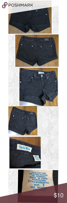 ‼️PARIS BLUES black cuffed stretch jean shorts These PARIS BLUES faded black shorts are perfect to wear this spring and summer with your favorite T-shirt or tank top, flip flops or sneakers! These shorts are faded light black from being washed but have a lot of life left! See pictures for measurements.  Thank you for stopping by and let me know if you have any questions! I accept reasonable offers!🤗 Paris Blues Shorts Jean Shorts