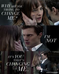 """It's you that's changing me."" Ana and Christian share a moment on the street. What's your favorite moment from the book? 