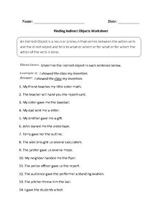 Finding Indirect Objects Worksheet