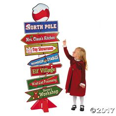 North Pole Directional Sign Cardboard Stand-up - OrientalTrading.com