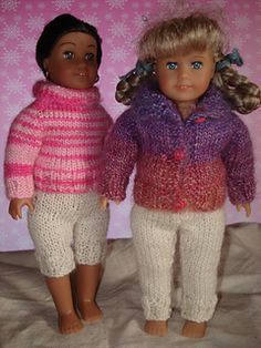 Free sweater and pants knitting patterns for Mini AG dolls