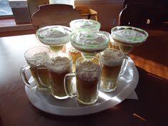 21st bithday cake baked in beer mugs and margarita glasses, green sugar as salt on margarits glasses. My mom's amazing idea!