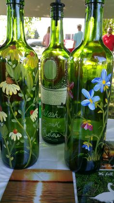 Wine Bottles Painted by Denise Crawford Liquor Bottle Crafts, Glass Bottle Crafts, Wine Bottle Art, Spray Painted Bottles, Glass Painting Designs, Recycled Glass Bottles, Painted Wine Glasses, Bottle Painting, Decoupage Tutorial